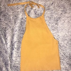 Mustard ribbed cropped halter top